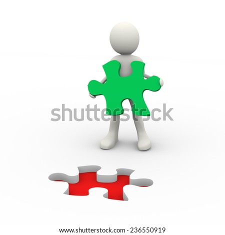 3d illustration of man holding puzzle solution piece. Concept of problem solution, goal achievement, success. 3d human person character and white people - stock photo