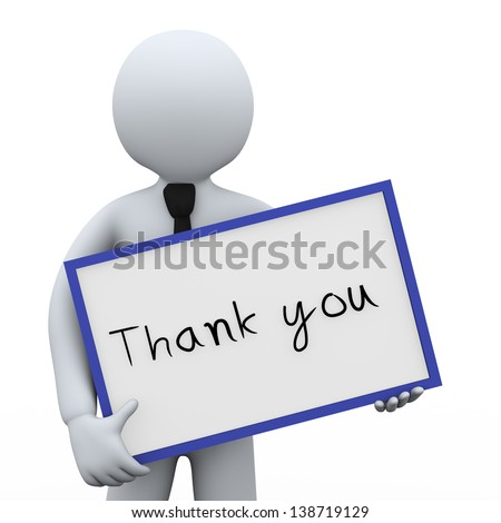 3d illustration of man holding thank you board.  3d rendering of human people character. - stock photo