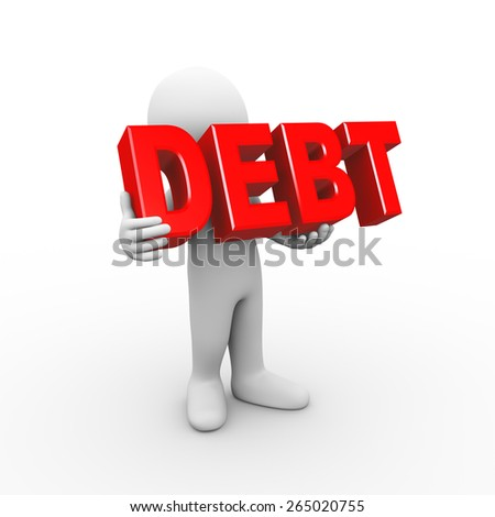 3d illustration of man holding word text debt. 3d rendering of human people character