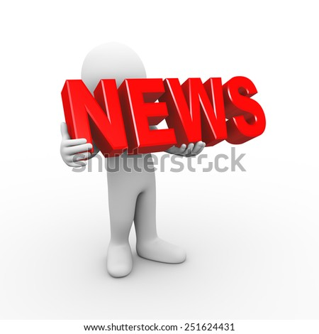3d illustration of man holding word text news.  3d rendering of human people character - stock photo