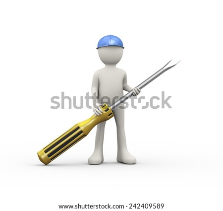 3d illustration of man in hardhat helmet holding screwdriver. 3d human person character and white people - stock photo