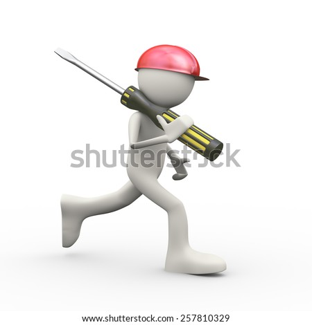 3d illustration of man in red hardhat helmet running screwdriver. 3d human person character and white people - stock photo
