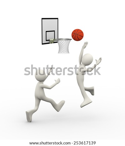 3d illustration of man jumping and putting ball in basketball hoop.  3d human person character and white people - stock photo