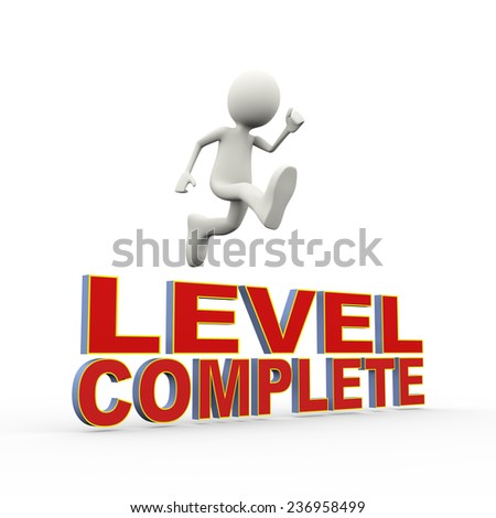 3d illustration of man jumping over words level complete. 3d human person character and white people - stock photo