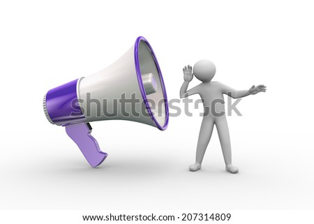 3d illustration of man listening to large megaphone annoucement. 3d human person character and white people - stock photo