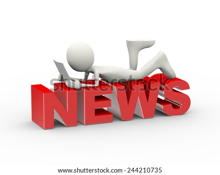 3d illustration of man lying on word news and reading newspaper . 3d human person character and white people - stock photo