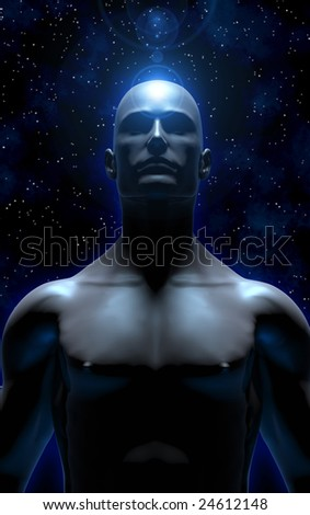 3D illustration of man meditating and transcending the material plane, becoming one with the universe - stock photo