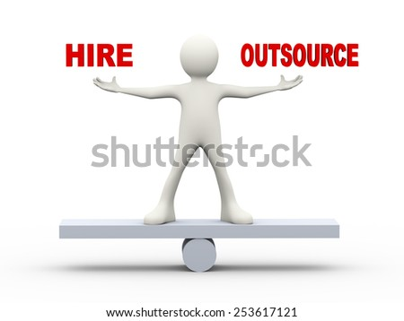 3d illustration of man on scale holding word hire outsource.  3d human person character and white people - stock photo