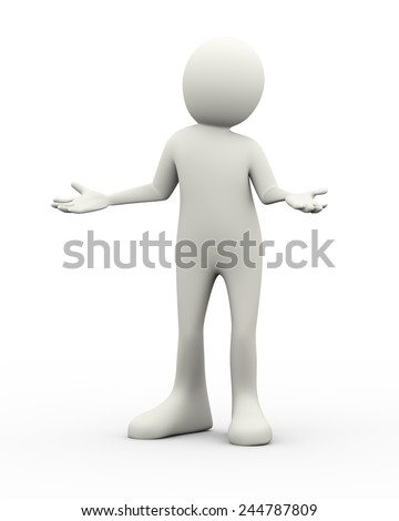 3d illustration of man posing gesture expression of I don't know or I do not care. 3d human person character and white people - stock photo