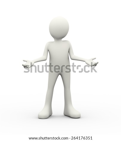 3d illustration of man posing gesture expression of what do you want or I don't know. 3d human person character and white people - stock photo