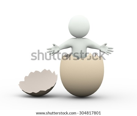 3d illustration of man posing welcome gesture inside cracked broken egg. 3d rendering of human character businessman - stock photo