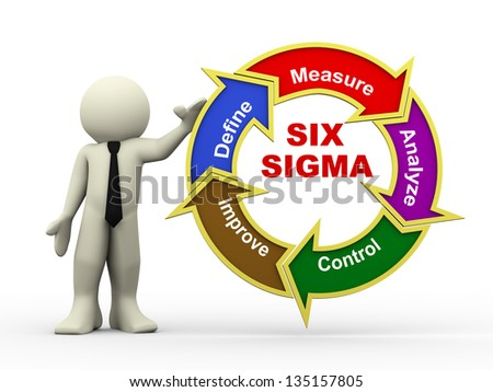 3d illustration of man presenting circular flowchart of six sigma. Human character 3d illustration. - stock photo