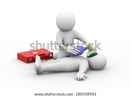 3d illustration of man providing casualty with oxygen. First aid   3d rendering of human people character - stock photo