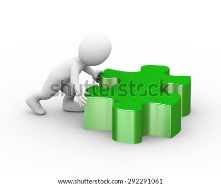 3d illustration of man pushing lard puzzle piece.  3d rendering of human people character - stock photo