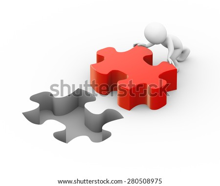 3d illustration of man pushing lard puzzle piece to fix it.  3d rendering of human people character