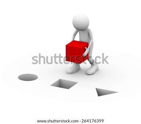 3d illustration of man putting red cube in the hole. 3d human person character and white people.