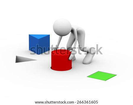 3d illustration of man putting red cylinder in the hole. 3d human person character and white people.