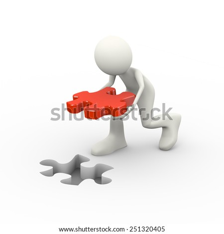 3d illustration of man putting solution red puzzle piece. Concept of problem solution, goal achievement, success.  3d human person character and white people - stock photo