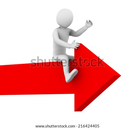 3d illustration of man ride and surf rising red arrow. 3d rendering of human character. - stock photo