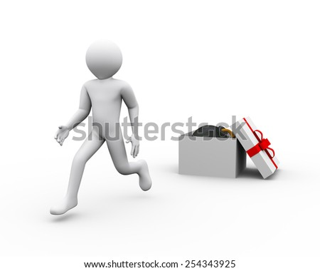 3d illustration of man running and escaping after discovering bomb in gift box. 3d rendering of human people character - stock photo
