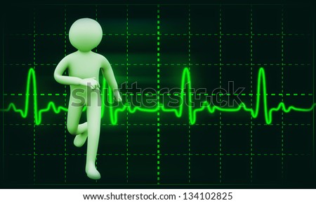 3d illustration of man running on background of Cardiogram.  3d rendering of people  - human character. - stock photo