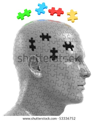 3D illustration of man's head made out of plastic jigsaw puzzle pieces, with solving puzzle pieces floating above. Clipping path is included - stock photo