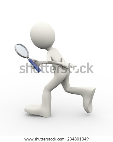 3d illustration of man searching with magnifying glass. 3d human person character and white people - stock photo
