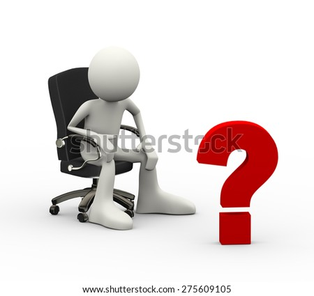 3d illustration of man seated on business chair looking at question  mark. 3d human person character and white people - stock photo