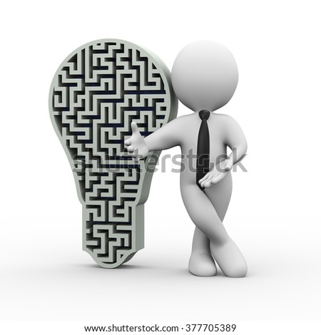 3d illustration of man standing with bulb shape complicated maze design.  3d rendering of human people character - stock photo