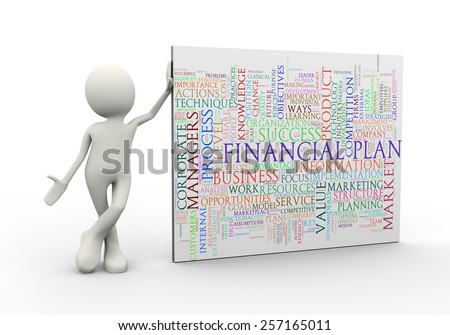 3d illustration of man standing with financial plan wordcloud word tags. 3d human person character and white people - stock photo
