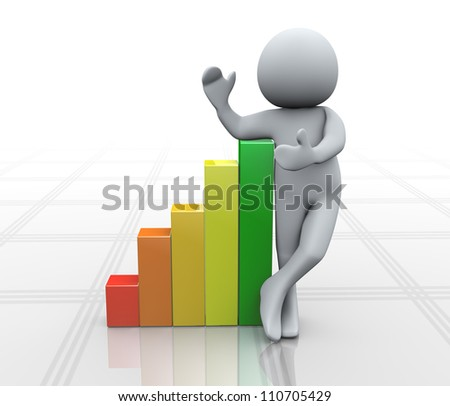3d Illustration of man standing with growing progress bars. 3d rendering of human character. - stock photo