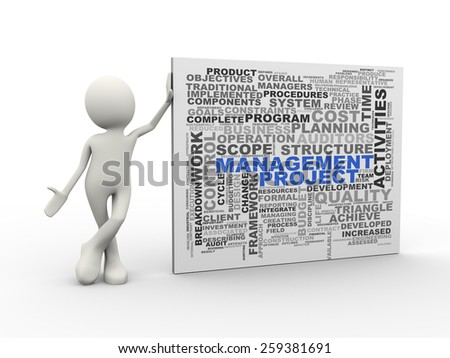 3d illustration of man standing with project management word tags wordcloud. 3d human person character and white people - stock photo