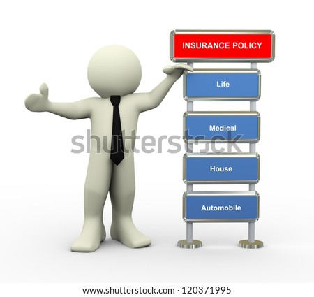 3d illustration of man standing with various type of insurance policy - stock photo