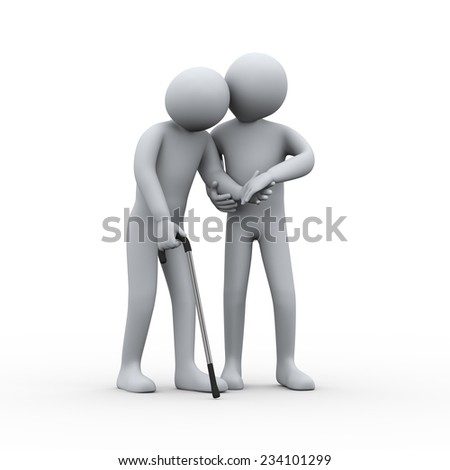 3d illustration of man supporting and helping an old man for walking. 3d rendering of people - human character. - stock photo