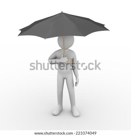3d illustration of man under black umbrella. 3d rendering of human people character. - stock photo