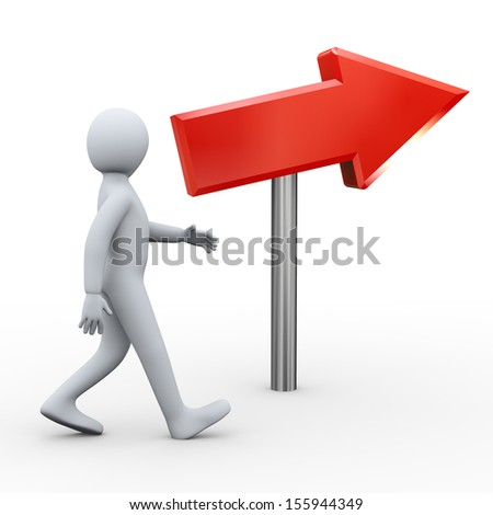3d illustration of man walking toward direction of red arrow.  3d rendering of human people character. - stock photo