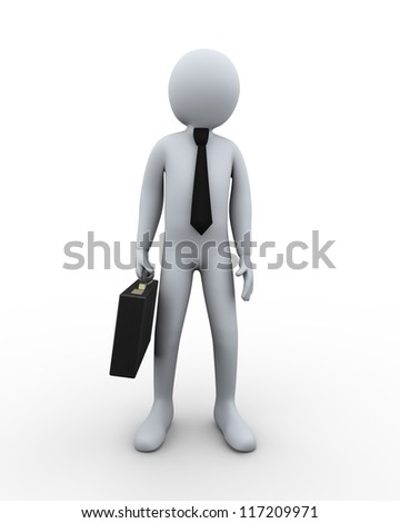 3d Illustration of man with briefcase. 3d rendering of human character businessman. - stock photo