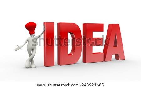 3d illustration of man with bulb head standing with word idea. 3d human person character and white people