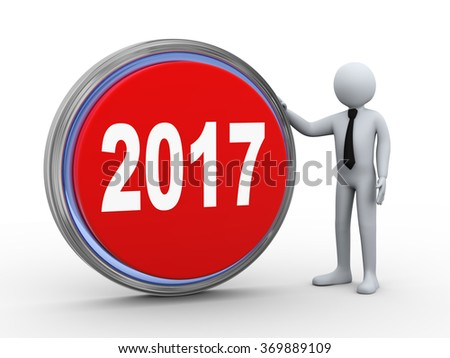 3d illustration of man with 2017 button.  3d rendering of human people character - stock photo