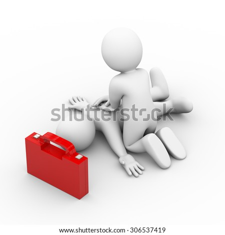 3d illustration of man with first aid box providing artificial oxygen breath with hands. 3d rendering of human people character. - stock photo