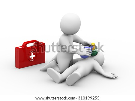 3d illustration of man with first aid box providing casualty with oxygen. 3d rendering of human people character - stock photo