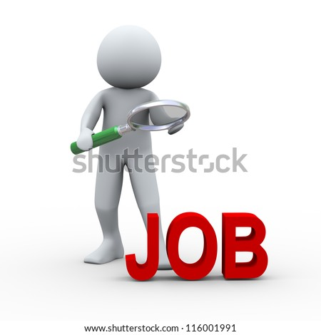 3d Illustration of man with magnifying glass looking at word job. Concept of job search. 3d rendering of human character. - stock photo
