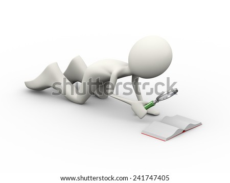3d illustration of man with magnifying glass searching in small open book . 3d human person character and white people - stock photo