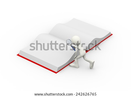 3d illustration of man with magnifying glass searching in the open book . 3d human person character and white people - stock photo