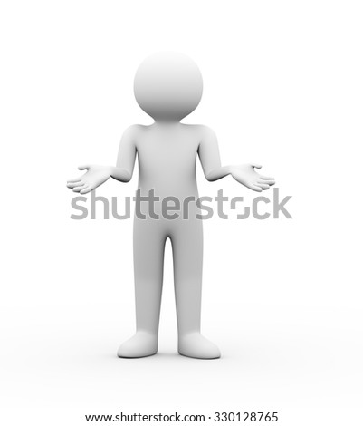 3d illustration of man with no idea gesture pose expression. 3d human person character and white people