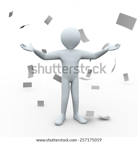3d illustration of man with open hands standing in falling paper rain. 3d rendering of human people character