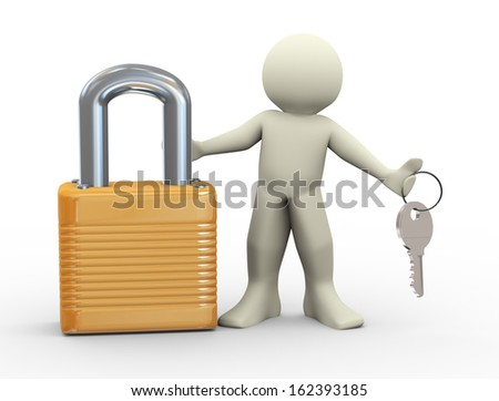3d illustration of man with padlock holding keys - stock photo