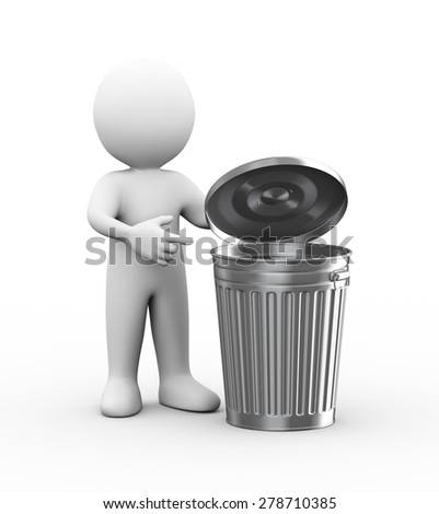 3d illustration of man with shiny metal trash can bin.  3d rendering of human people character - stock photo