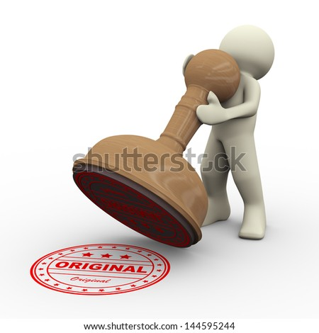 3d illustration of man with word original wooden rubber stamp. 3d rendering of people human character.