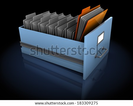 3d illustration of many archive folders with one selected - stock photo